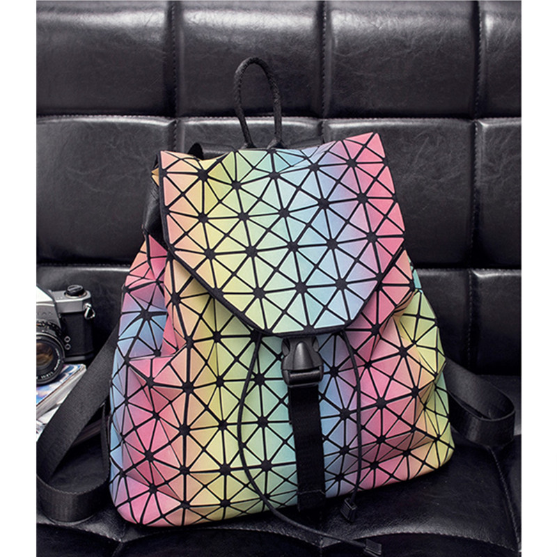 Silicone Geometric Splicing Ling Rubiks Cube Student Backpack Bag Laser Folding Travel Bag for Girls Gift 2016 New Arrival <br><br>Aliexpress