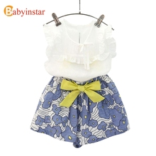 Babyinstar Cute Lace Shirt + Bow Floral Shorts 2pcs Children's Set 2017 New Fashion Kids Apparel Girls Clothing Set