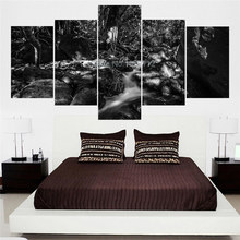 Modern  Black And White Nature Landscape Picture 5 Piece Wall Art On Canvas Home Ornamentation Frameless Paintings For The Hall