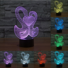 Creative 3D Lamp 7 color change LED Night Light Double Goose With heart Abstract Graphics Acrylic USB touch sensor Lamp IY803586