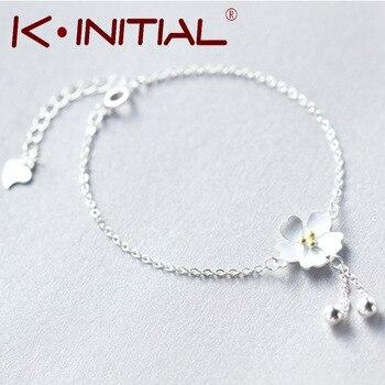 Kinitial 1Pcs 925 Silver Charm Flower Bracelet Sakura Chain With Cherry Blossoms Fashion Ball Dangle Pendant Women/Girls Jewelry