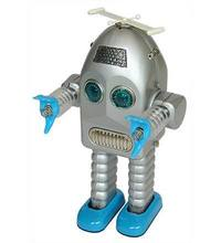 Adult Collection Clockwork Spring Tin Toys Wind Up Robots iron Metal Models Craft TR2015 electric lightning big face robot(China)