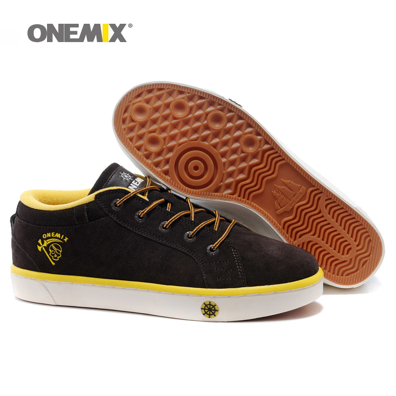 ONEMIX Winter Man Walking Shoes For Men Pigskin Leather Sneakers Classic Trends Skateboarding Shoe Black Tennis Outdoor Footwear<br>