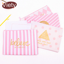 New fresh Pink Stripe canvas file bag pencil case file folder documents filling bag office suppllies stationery bag(China)