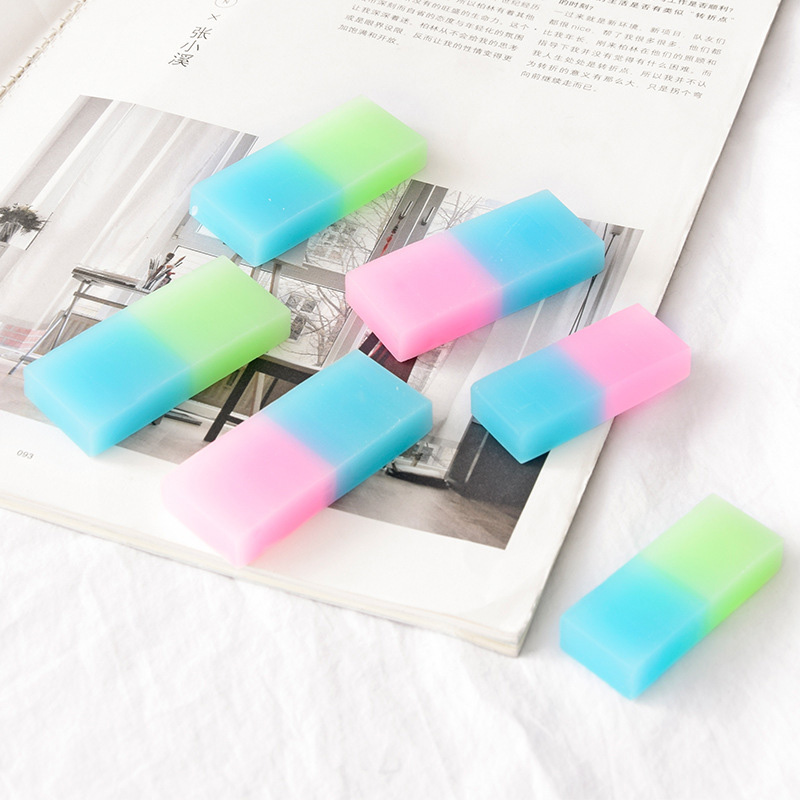 Cute Kawaii Soft Durable Cube Jelly Colored Rubber Eraser Kids School Stationery