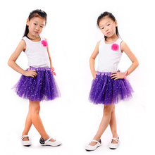 2T Kids Girl Star Glitter Dance Tutu Skirt Sequin With 3 Layers Tulle Toddler Girl Chiffon Pettiskrit