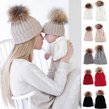2PC Mother And Baby Hat Baby Winter Knitted Hat With Fur Ball Unisex Beanies Kids Mother Flexible Snow Caps Apparel  Accessories