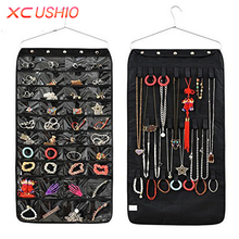 40 Pockets Double Sided Jewelry Hanging Storage Bag Non-woven Storage Organizer 20 Magic Tape Hook Earrings Ring Display Pouch(China)