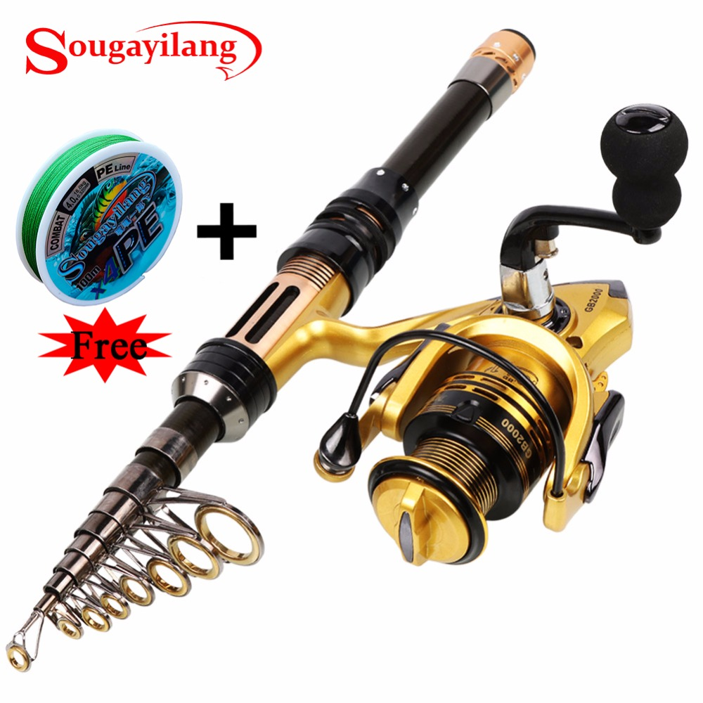Sougayilang 1.3-2.4M Telescopic Carbon Fishing Rod and Fishing Reel Mini Spinning Fishing Rod Combos Free Braided Fishing line<br>