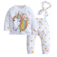 2017 Baby Girl Clothes Cartoon Unicorn Pattern Long Sleeve T-shirt + Pants+Headband 3pcs Suit Newborn Baby Girl Clothing Set(China)