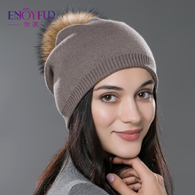 Women winter hat wool knitted beanies cap real natural fox fur pompom hats solid colors gorros cap female causal hat
