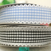 ePacket 25mm 10Y tooth plaid printed polyester ribbon gift package ribbon hairbows accessory