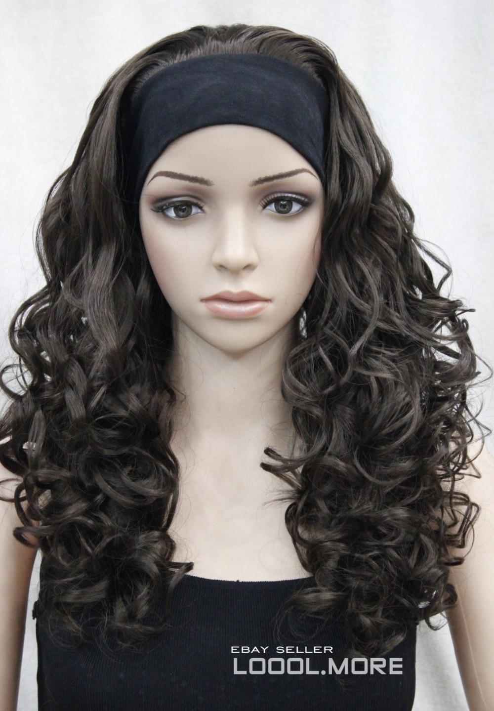 Fashion Dark Brown Long Curly women Daily 3/4 half wig (B0320)<br><br>Aliexpress