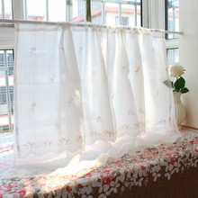 Korean Finished Curtain Double Layer Cafe Garden Kitchen Cabinet Half Curtain Rod Partition Curtain(China)