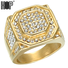 HIP Hop Micro Pave Rhinestone Iced Out Bling Hexagonal Ring IP Gold Filled Titanium Stainless Steel Rings for Men Jewelry
