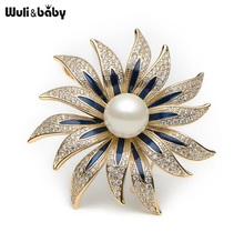 Wuli&baby Scarf Buckle Copper Rhinestone Enamel Flower Brooches Simulated Pearl Flower Banquet Brooch Pins Scarf Buckle Gift(China)