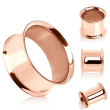 1 pair Stainless steel anodized rose gold double flare flesh tunnel ear plug gauges ear expander