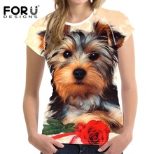 FORUDESIGNS Newest Woman Tops T-shirt Cute Yorkshire Terrier Print Short Sleeved T Shirts For Girls Womens Slim Feminine Clothes(China)