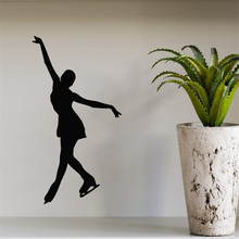 Skating Wall Decals Girl Figure Skater Ice Skating Sport Gym Home Interior Design Vinyl Decal Sticker Kids Nursery Muraux