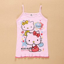 Sweet Baby kids girl Hello Kitty Tank tops girls Vest vetement fille shirt Camisole Tees enfant children camisetas clothes(China)