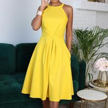 Buy OMSJ New Women Elegant Party Sexy Fashion Workwear Dresses Ladies Yellow Halter Sleeveless Line Ruched Casual OL Office Dress