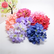 Cheap 12pcs/combo Silk Hydrangea Artificial Flower Head For Wedding Car Decoration DIY Garland Decorative Floristry Fake Flowers