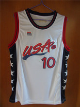 Aembotionen Reggie Miller #10 USA White/Blue Retro Throwback Stitched Basketball Jersey Sewn Camisa Embroidery Logos