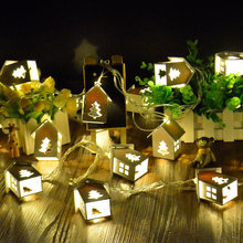 1X Wedding Party Led String Light, House Shaped with Christmas Tree Pattern Warm White Lighting String White Garland