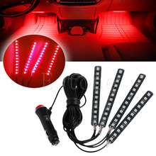 Red 4x12LED Car Interior Light Atmosphere Decorative Light Neon Lamp Strips New D2TB