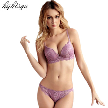 2016 Sexy full lace embroidery flowers thin thick double shoulder strap thickening underwear set deep V-neck women's push up bra(China)