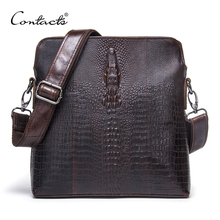 CONTACT'S 2018 Genuine Leather Men Bag For Mele Crocodile Style Men's Business Messenger Bag Tablet PC Handbag For High Quality(China)