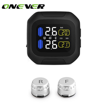 Onever Motorcycle TPMS Tire Pressure Monitoring System 2 External Sensor Wireless LCD Display Moto Auto Tyre Alarm Systems(China)