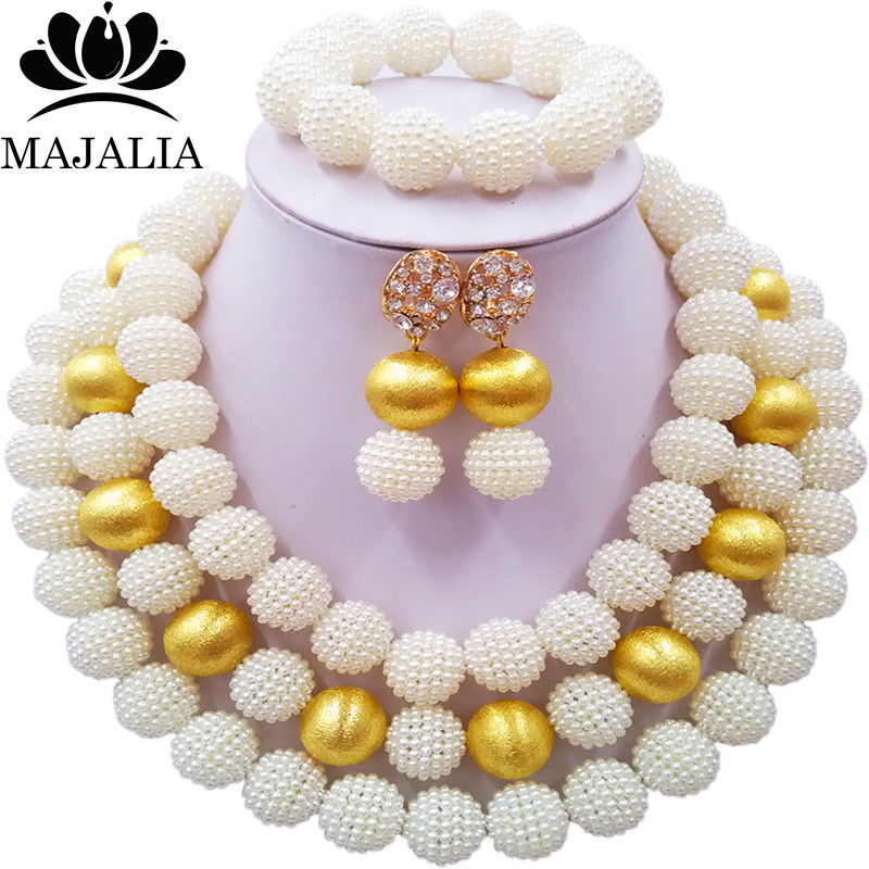 Nigerian Wedding African Beads Jewelry Set Simulated Pearl Necklace New Picture (18)