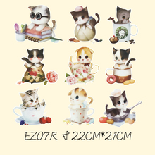 9 kitten thermal transfer Offset heat transfer pattern DIY handicraft clothing patch patches cloth paste decals