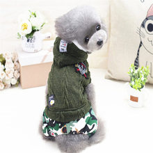 Green Blue Puppy pet dog clothes winter Camouflage pants coats for chihuahua clothing for pet shop dog products
