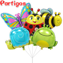 10pcs/lot Bee & snails & butterfly & Frog &  & Ladybug Animals shaped Air foil Balloons birthday party suppies children's toys
