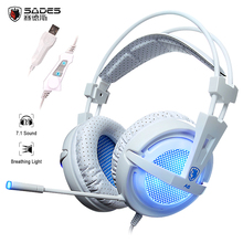 Gaming headphones SADES A6 7.1 Surround Sound Professional USB Wired Over-Ear Headset Earphones with microphone breathing light(China)