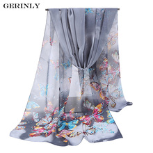 GERINLY Unique Women Scarves Chiffon Cute Butterflies Printed Scarf New Design Long Soft Silk Shawls Autumn Winter Hijab Wraps(China)