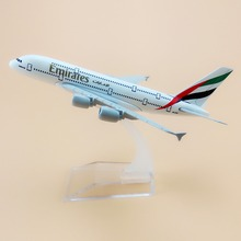 16cm Alloy Metal Air Emirates A380 Airlines Airplane Model Airbus 380 Airways Plane Model w Stand Aircraft