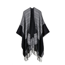 AIEnny Women Plaid Tassel Scarf Sweater Scottish Style Open Stitch Shawl 2017 New Fashion Autumn Winter Female Sweaters