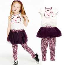 2015 Summer Kids Girls Clothing Set Baby Girl Hello Kitty T-shirt+Leopard Leggings with Mesh Skirt Children Clothes Suits CF114