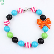 New Fashion Kids Orange Bow Chunky Necklace Girls Bubblegum Jewelry Necklace For Photo Props Wholesale(China)