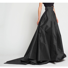 Vintage 2017 Black Long Satin Skirts For Women To Party Long Skirt With Train Cystom Made Pleateed Female Adult Skirts Saia(China)