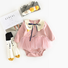 Cotton Baby Girls Long Sleeve Rompers Infant Girl Jumpsuits with Swan Collar Toddlers Jumpers Clothes Korean Design Cute lace