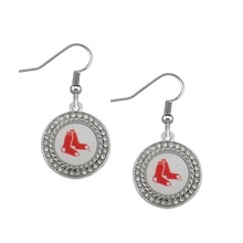 Fishhook Silver Toned Crystals Boston Red Sox Baseball Team Logo Earings Fashion Jewelry(China)
