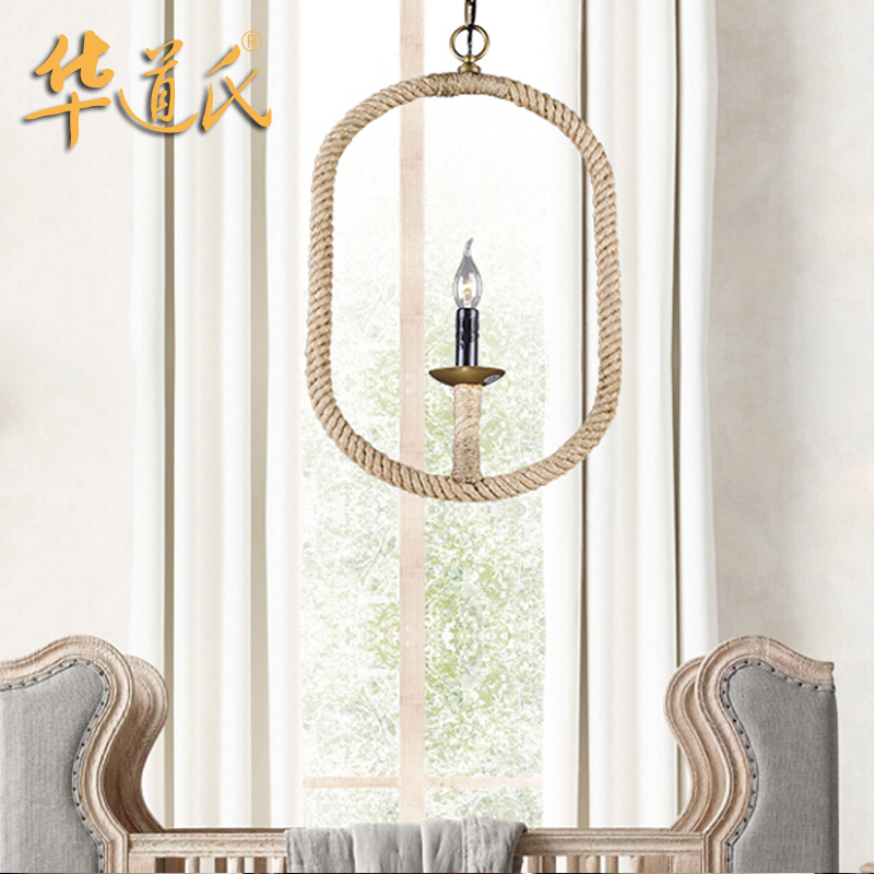 Chinas Linen chandelier chandelier retro personality industrial wind cafe bar store decoration lamp<br>