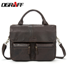 OGRAFF Handbag Men Bag Leather Briefcases For Lawyers Shoulder Bags Genuine Leather Male Messenger Bags Handbags Men Office Bag