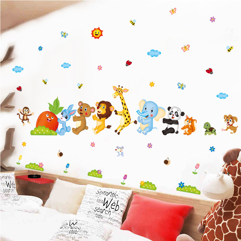 Cartoon Animal Friends Kids Baby Nursery Decals Wall Stickers DIY Flower Home Decor Door Bathroom Sticker Poster Wallstickers 5