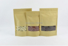 Joy Small recycled kraft bag with window, stand up brown paper zip lock  paper bags for tea
