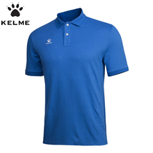 KELME Running Sport Shirt Polos Cotton Short Sleeve Mens POLO Shirts Stand Collar Soccer Jersey Shirt  K15F117-1